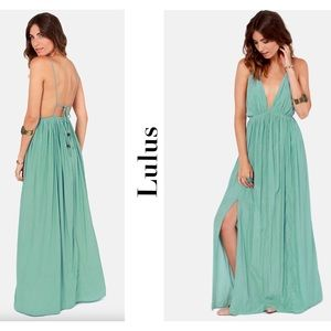 Lulus Titania's Woods Backless Seafoam Maxi Dress